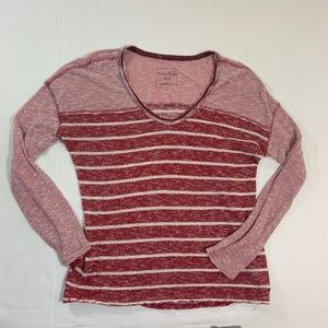 Free People Red Striped Long Sleeve Top Shirt S